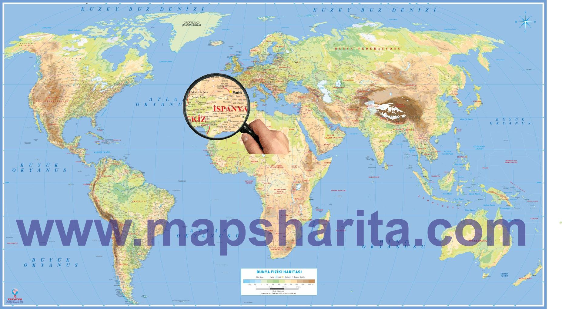 Dünya haritası türkçe nereden alınır fiziki dünya haritası