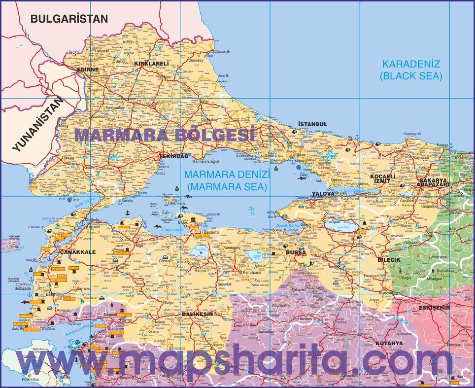 Marmara Bolgesi Karayollari Haritasi